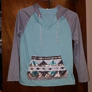 Turquoise hooded sweater Rue 21 size M
